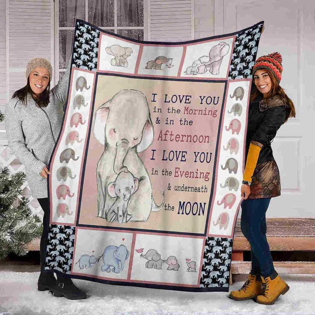 Cute Elephants Blanket - I Love You Blanket