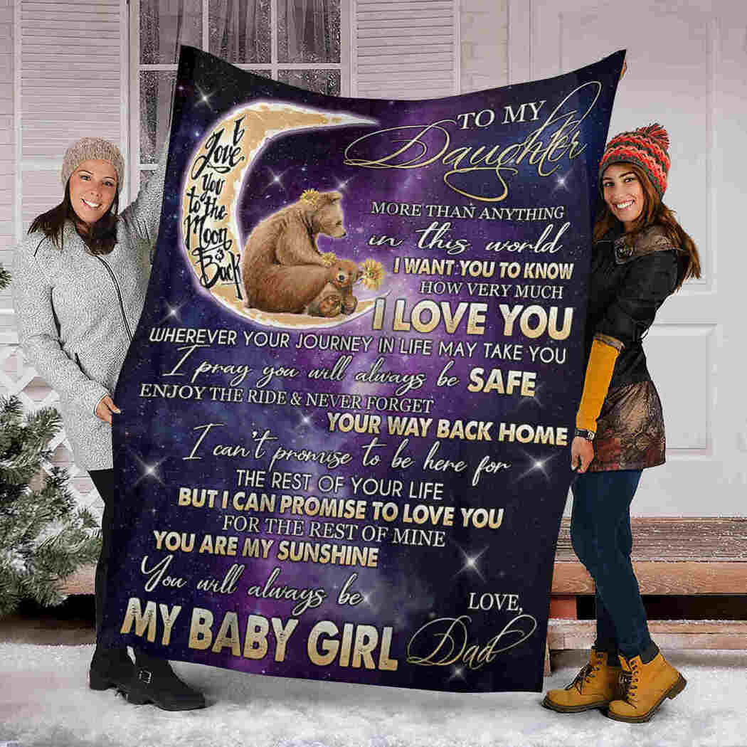 To My Daughter - Bear Moon Galaxy - You Are My Sunshine Blanket