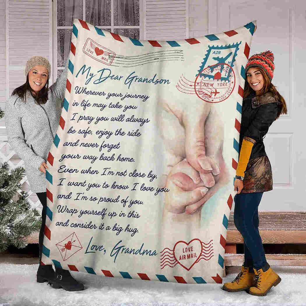 My Dear Grandson Blanket - Holding Hand Letter - Consider It A Big Hug Blanket