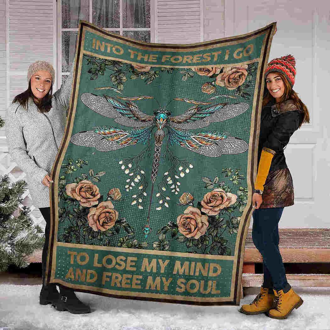 Dragonfly Roses Blanket - Lose My Mind Free My Soul Blanket