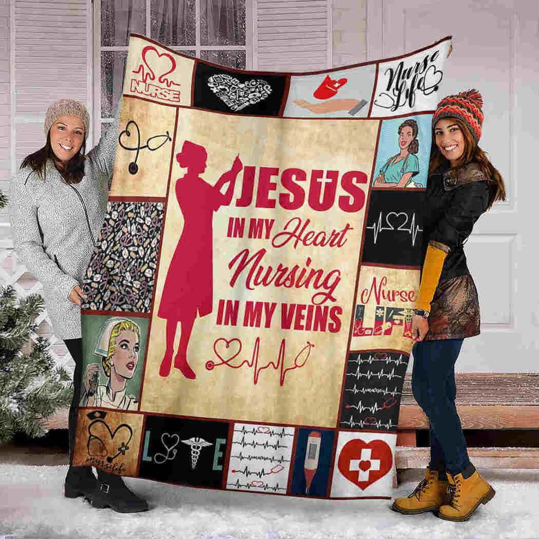 Jesus Nurses Blanket - Jesus In My Heart Nursing In My Veins Blanket