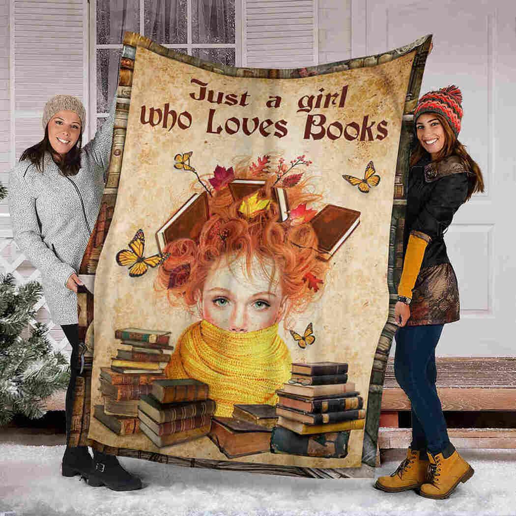 Beauty Girl & Books Blanket - Just A Girl Who Loves Books Blanket