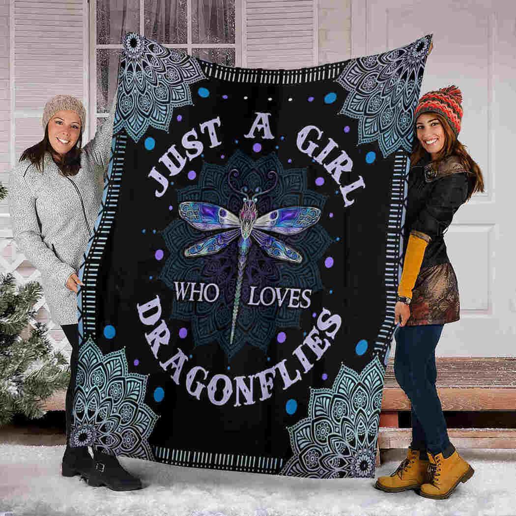 Dragonflies Mandala Blanket - Just A Girl Who Loves Dragonflies Blanket