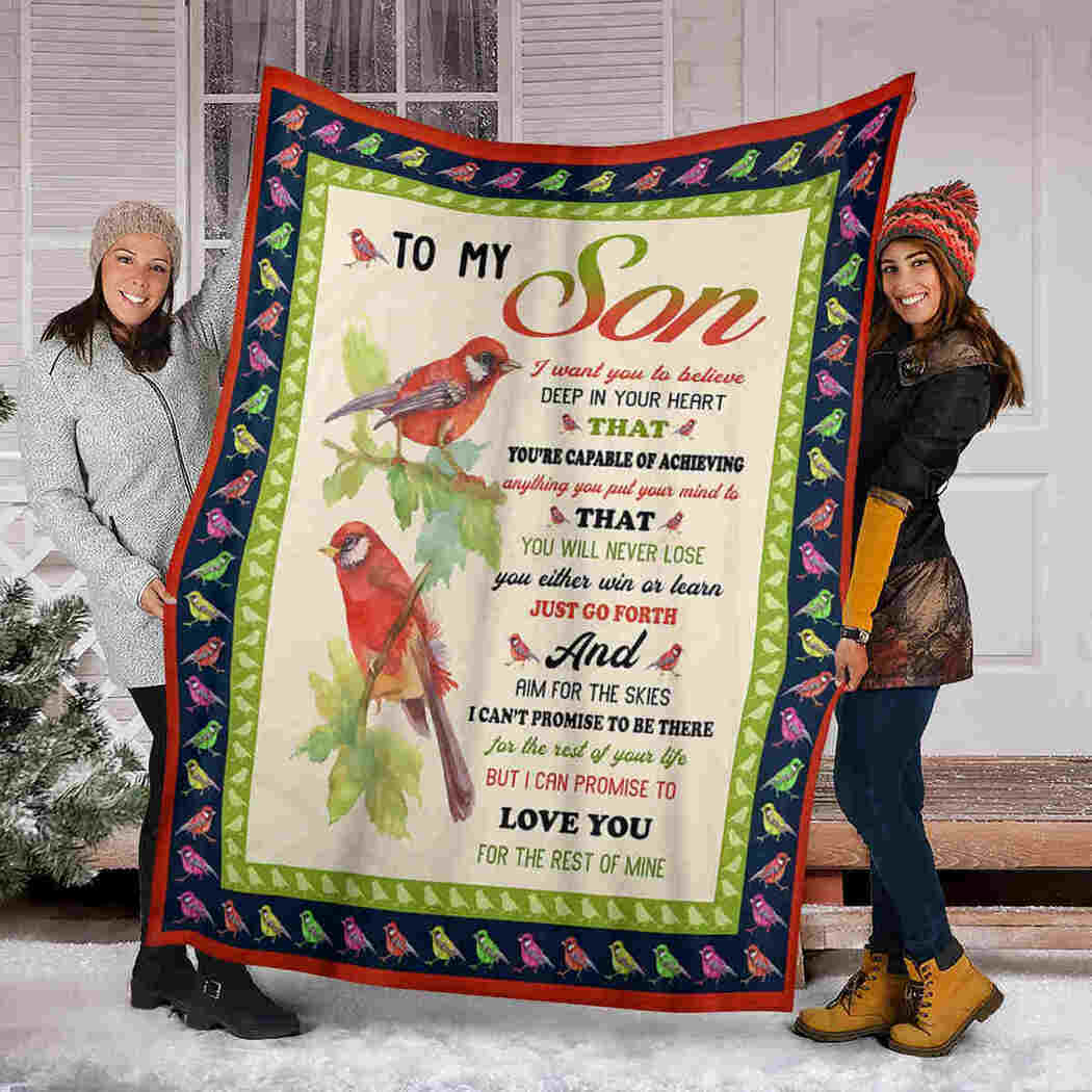 To My Son Blanket - Red Birds - Love You For Rest Of Mine Blanket