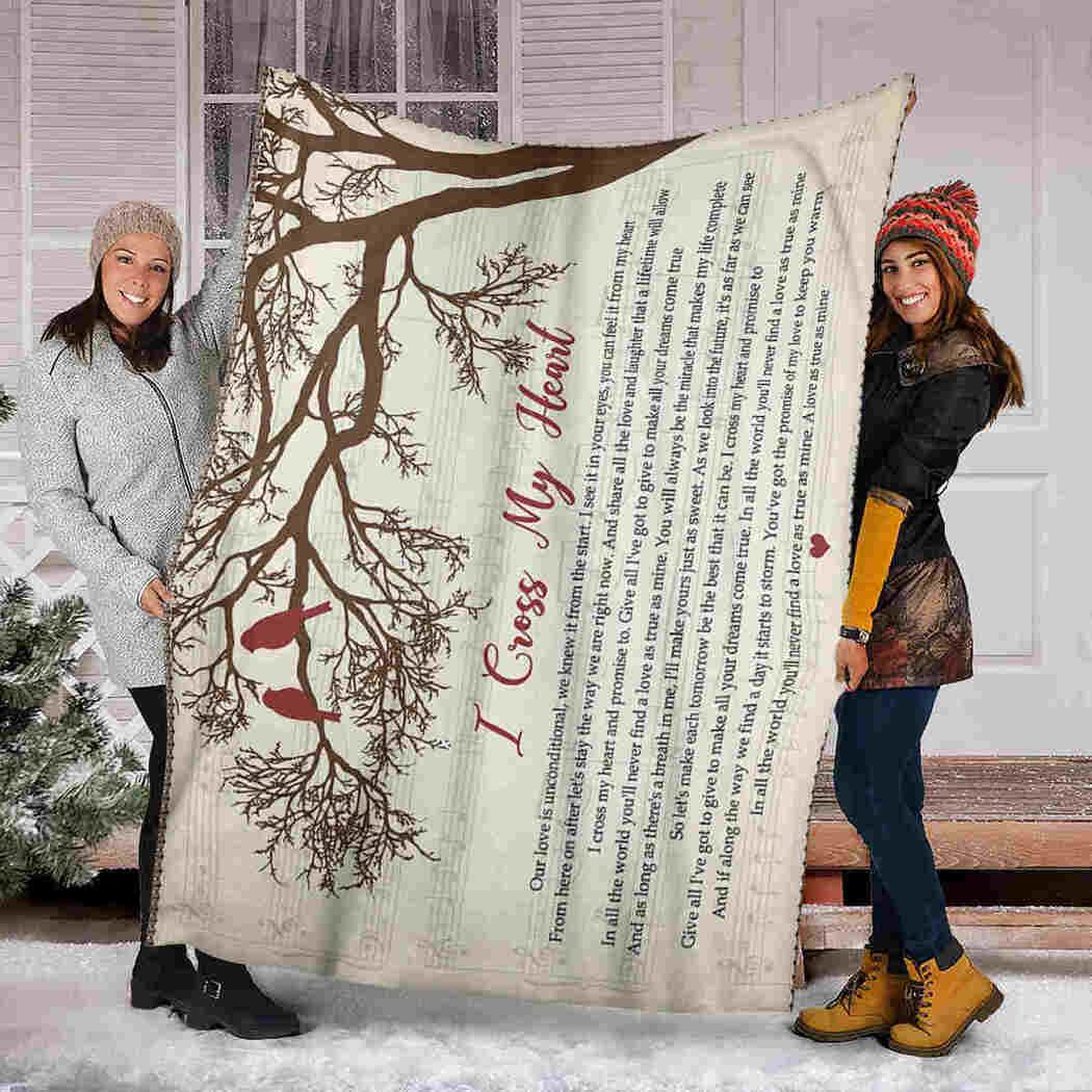 Red Bird On Tree Blanket - A Love As True As Mine Blanket - I Cross My Heart