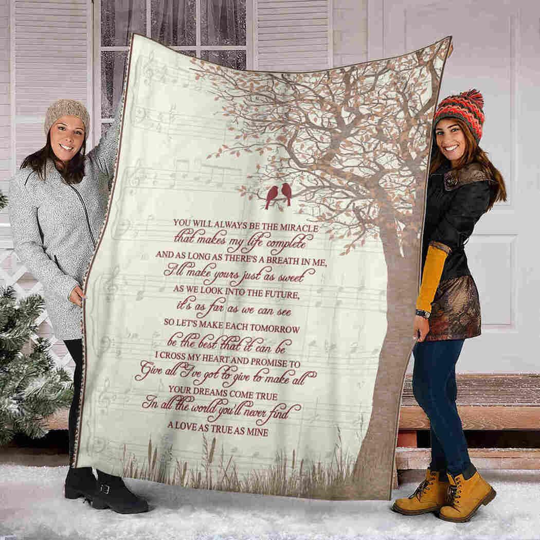 Song Lyrics Blanket - Tree & Bird - As Love As True As Mine Blanket