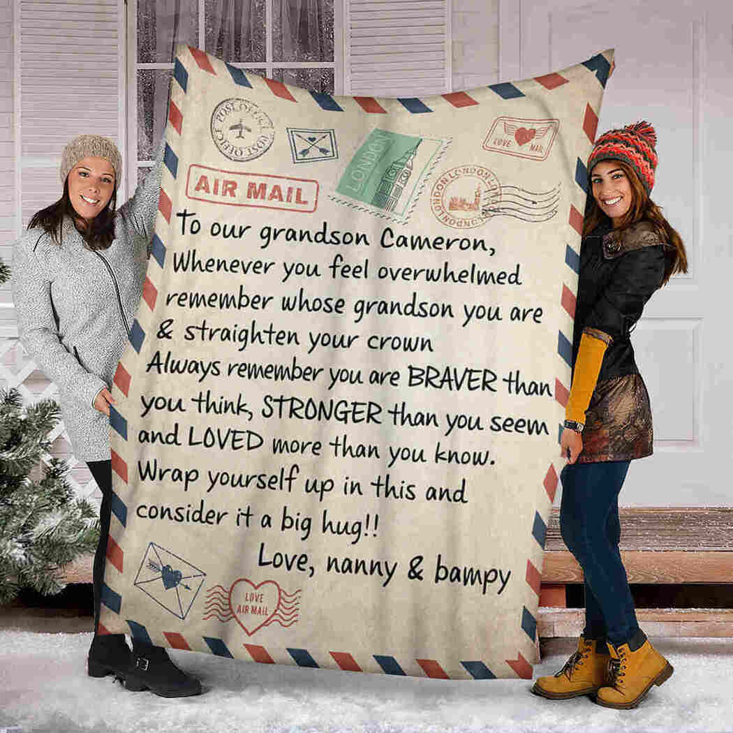 Personalized To Our Grandson Blanket - Air Mail Blanket - You Are Braver Than You Think