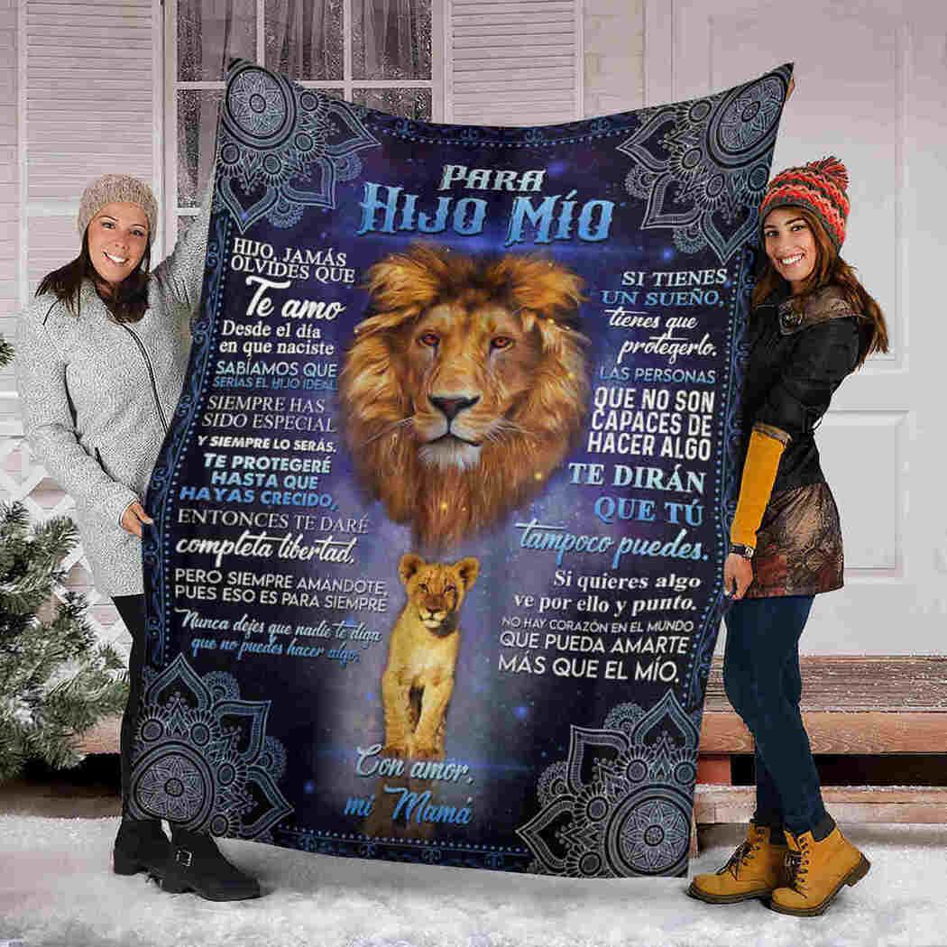 Para Hijo Mio Blanket - Lion Mandala - For My Son Blanket