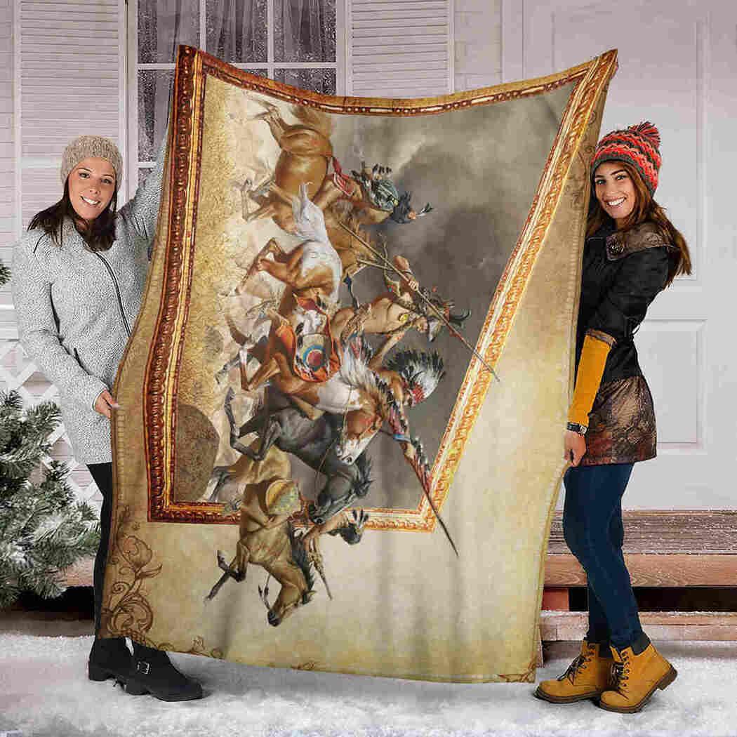 Native American Warriors Blanket - Horse Warriors Native Blanket
