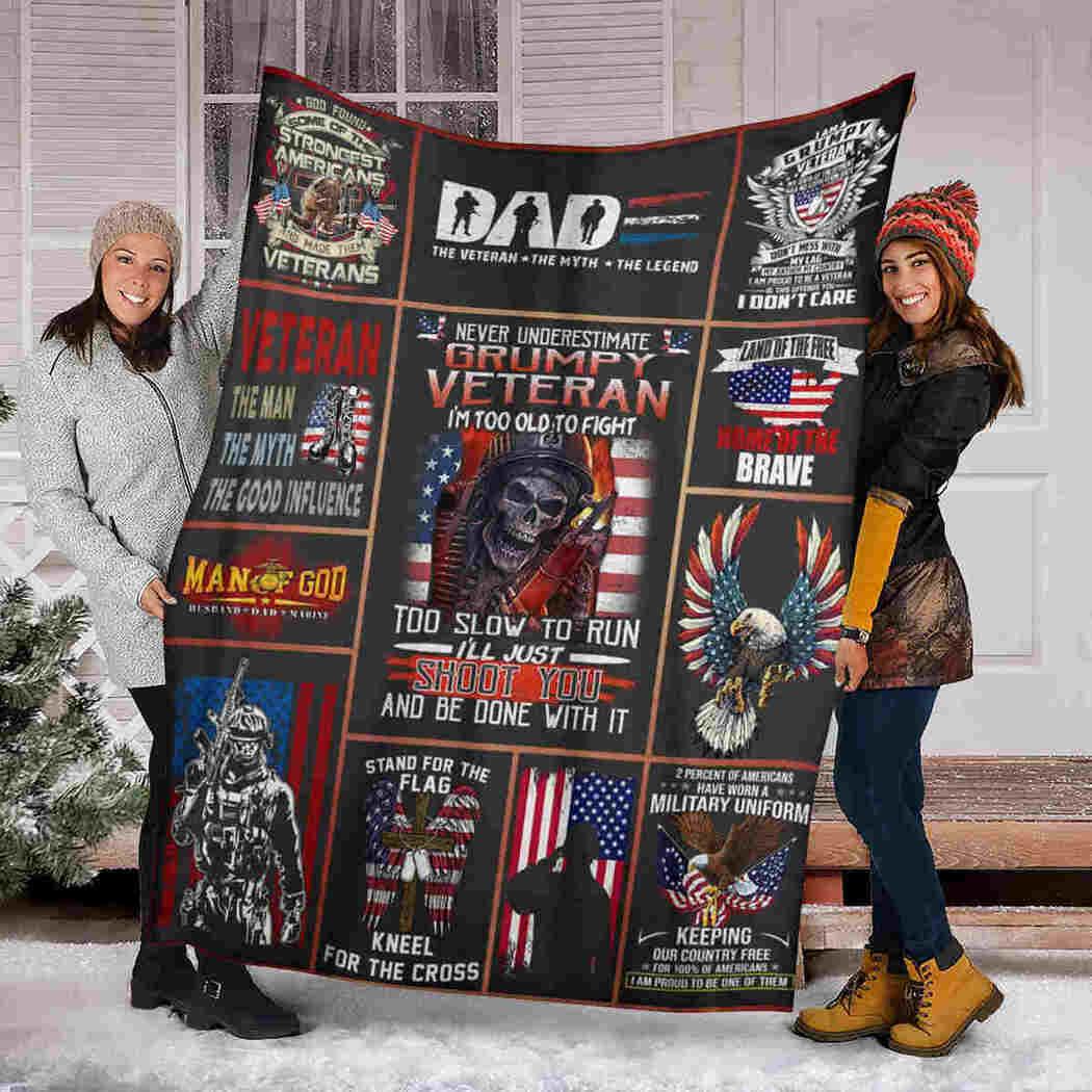 Gift For My Dad Blanket - Eagle And Skull Blanket - Never Underestimate Grumpy Veteran