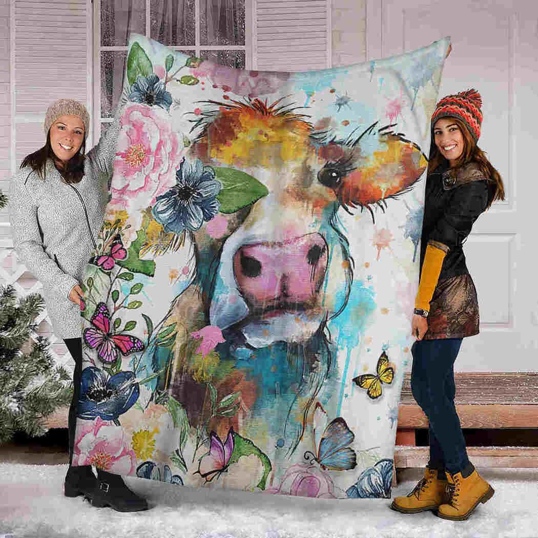 Cow Color Flower Blanket - Farm Animals Blanket