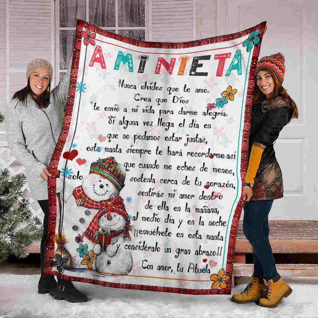 A Mi Nieta - Snowman - To My Granddaughter Blanket