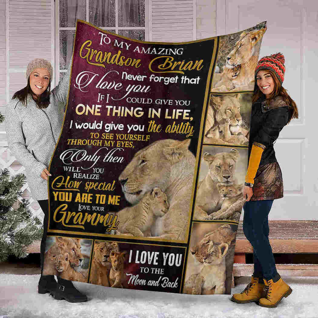 To My Amazing Grandson - Lion Blanket - I Love You To The Moon And Back Blanket