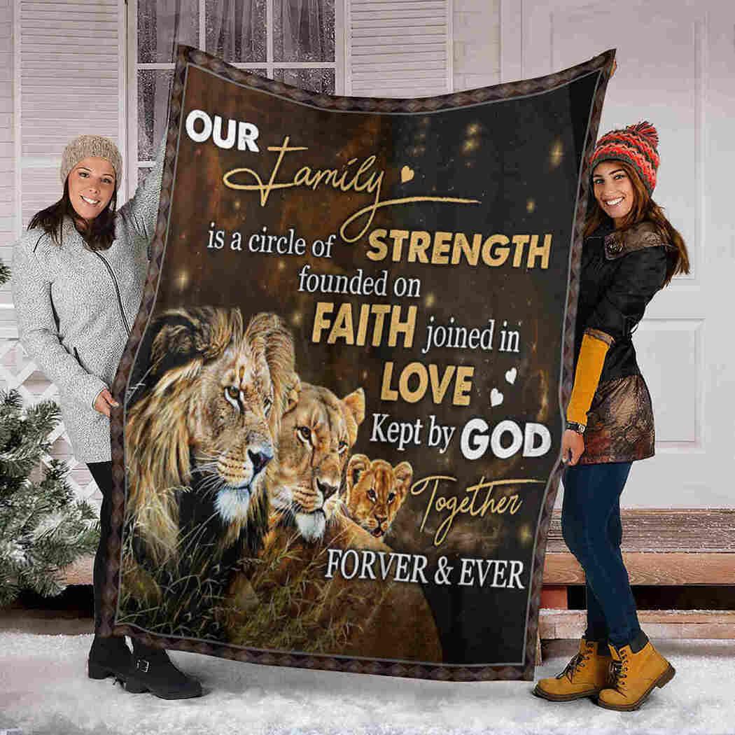 Our Family Lion Blanket - Faith Love God Blanket