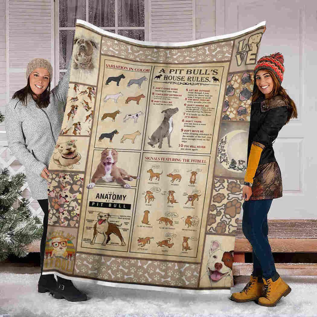 A Pit Bull's House Rules Blanket - Gift For Dog Lover Blanket