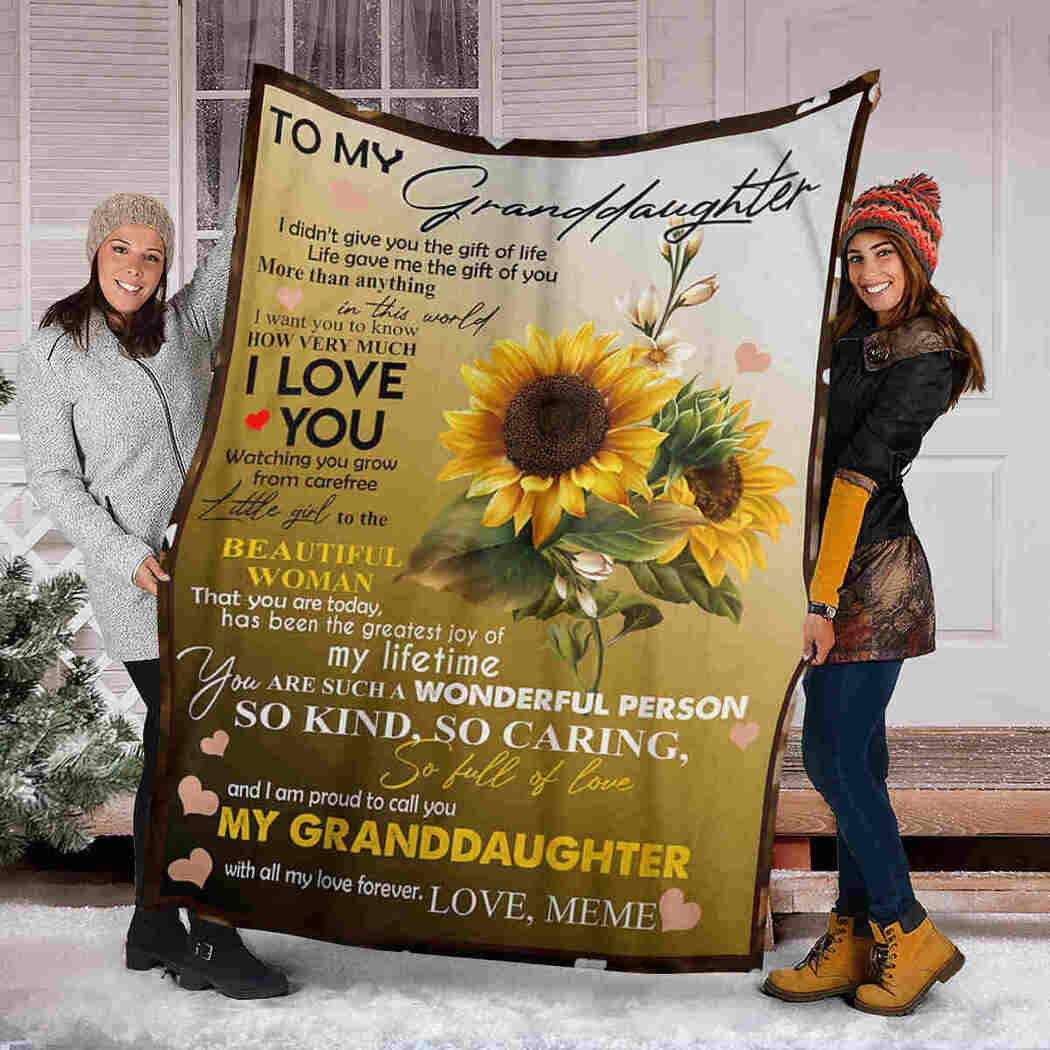 To My Granddaughter - Sunflower Beauty - I Love You Blanket