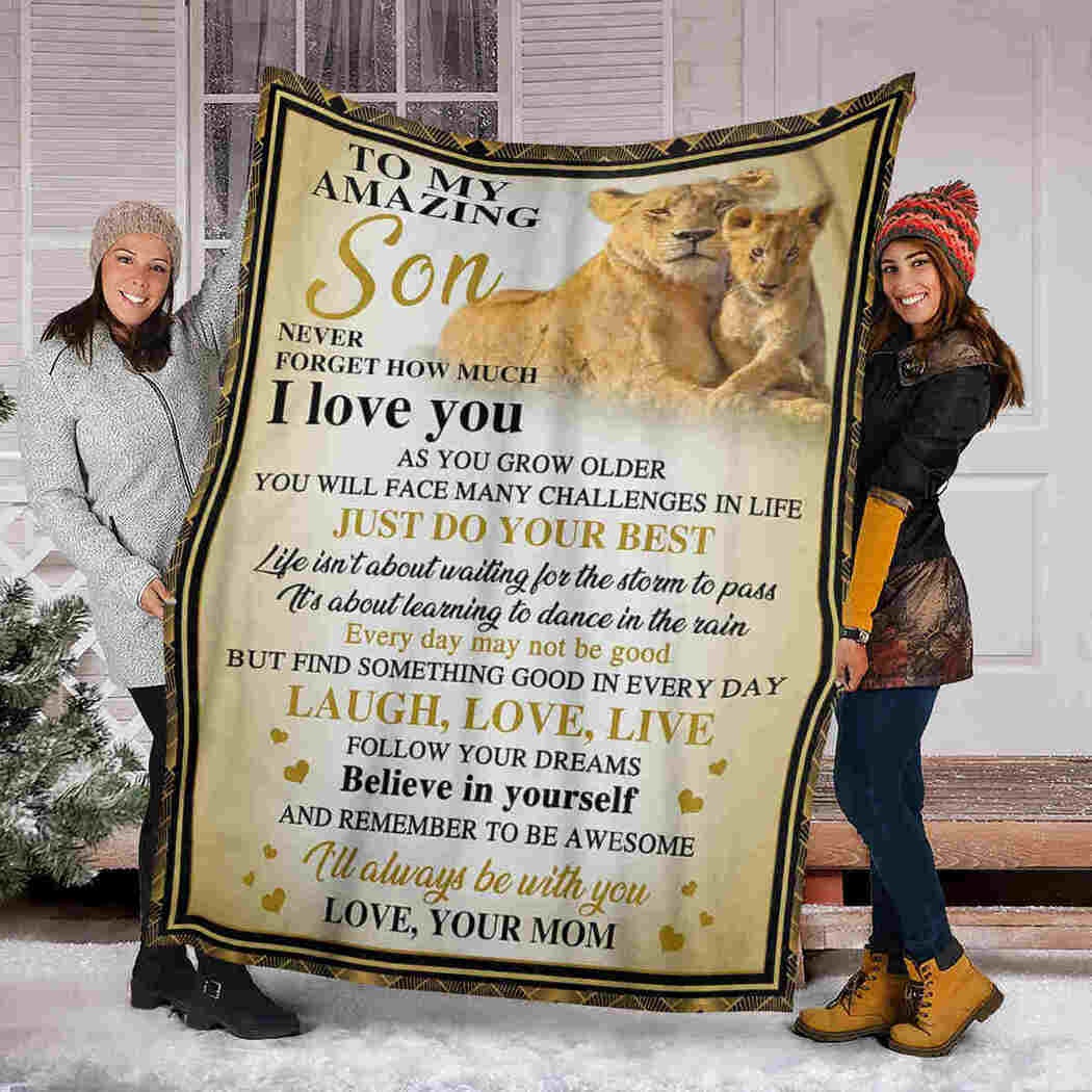 To My Amazing Son Blanket - Lion - Laugh Love Live Blanket
