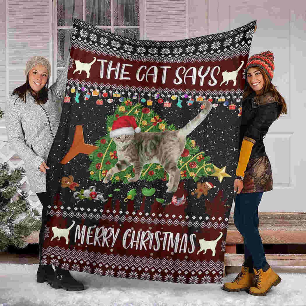 Cat Christmas Blanket - The Cat Says Merry Christmas Blanket