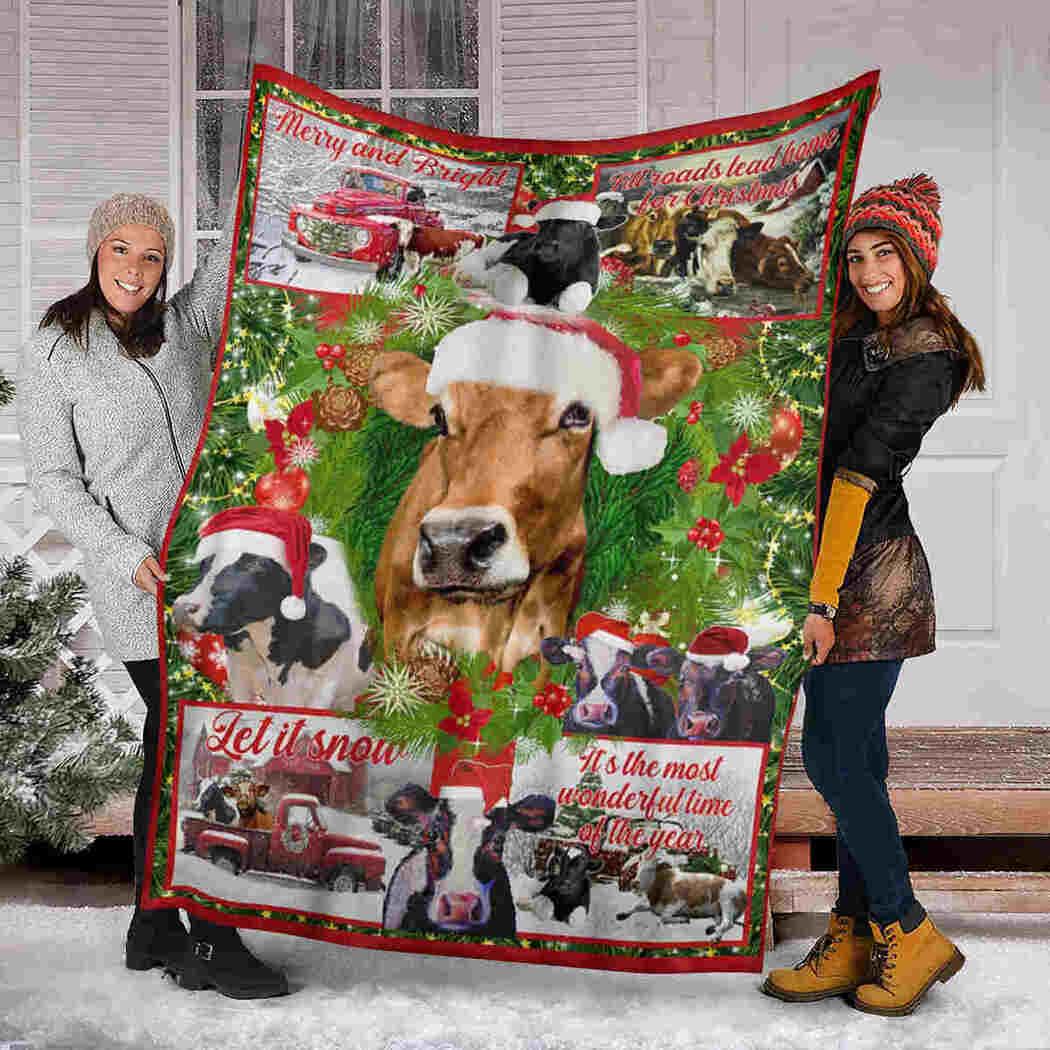 Cow Christmas Blanket - Let It Snow Wonderful Time Cow Blanket