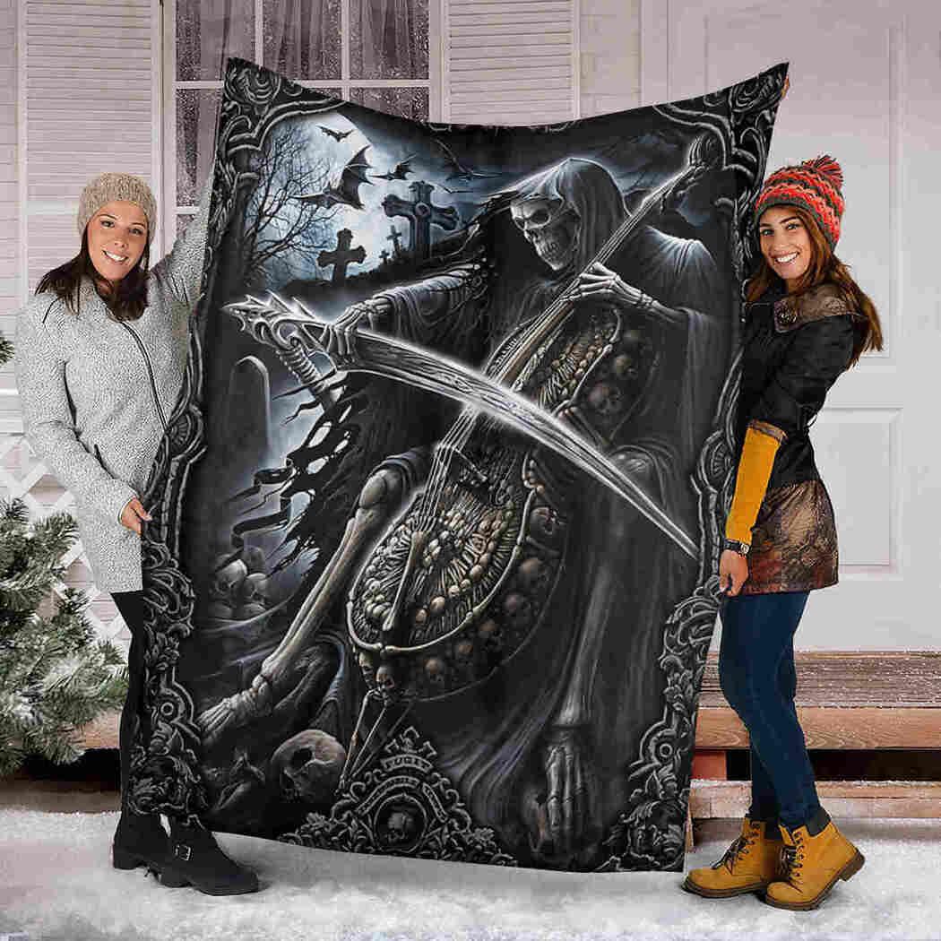 Skull Playing Cello Blanket - Special Halloween Blanket Gift